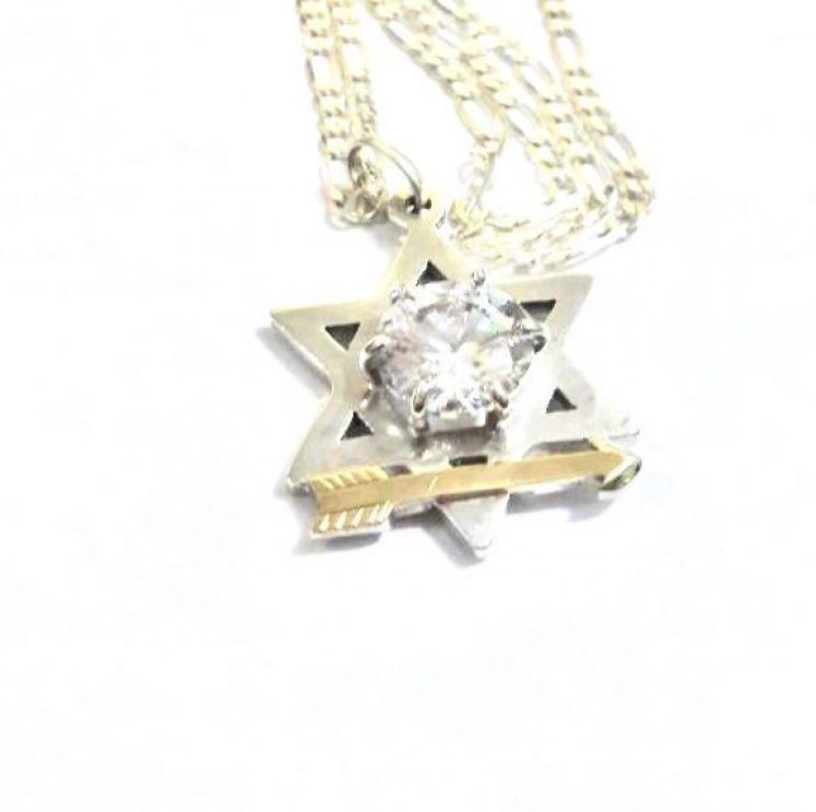 Estrela de Davi com seta – Prata e Ouro